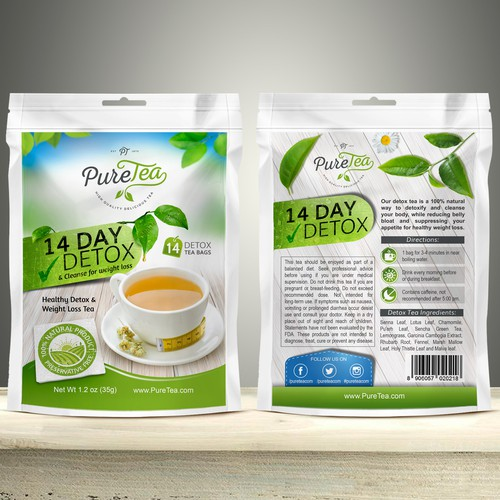 Passion design with the title 'Packaging design for Pure Tea'