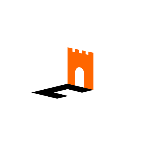 C brand with the title 'Castle Gate and Letter C Combined Logo concept'