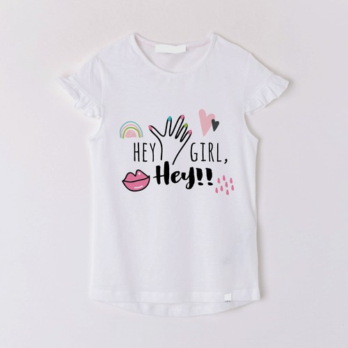 Girls White T Shirt with I/'m a Little Mermaid detail