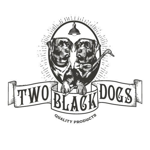Labrador logo with the title 'Two black dogs'