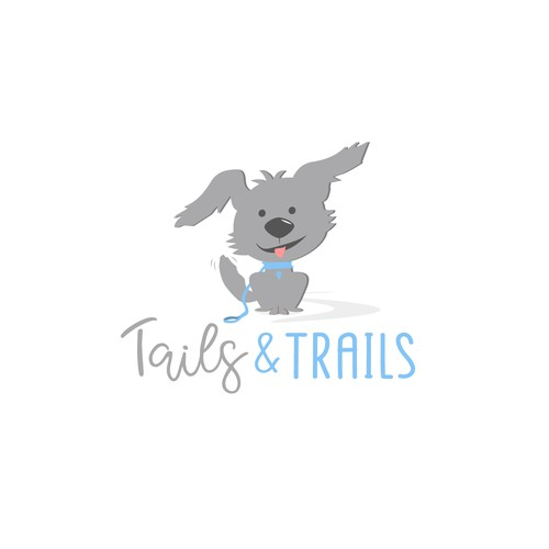 Route logo with the title 'Cute  and fun dog walking logo'