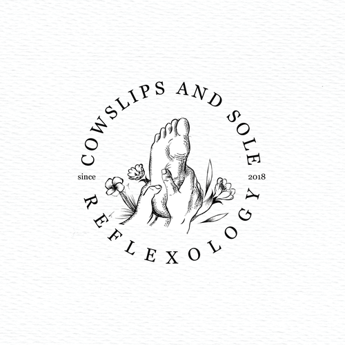 Leg logo with the title 'Vintage style logo for reflexology practitioner'