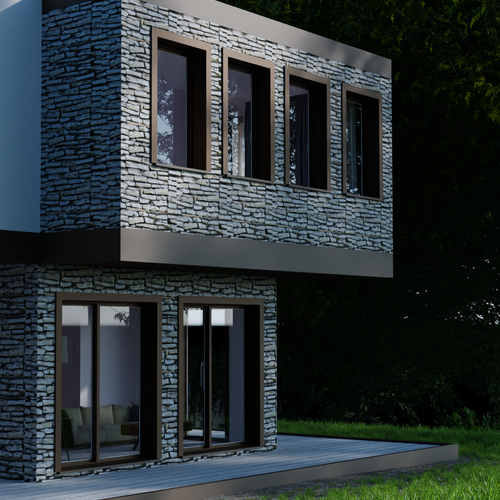 Stone design with the title '3D render for a residential building'