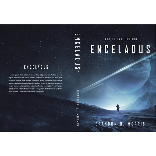 Planet design with the title 'book cover ''Enceladus'''