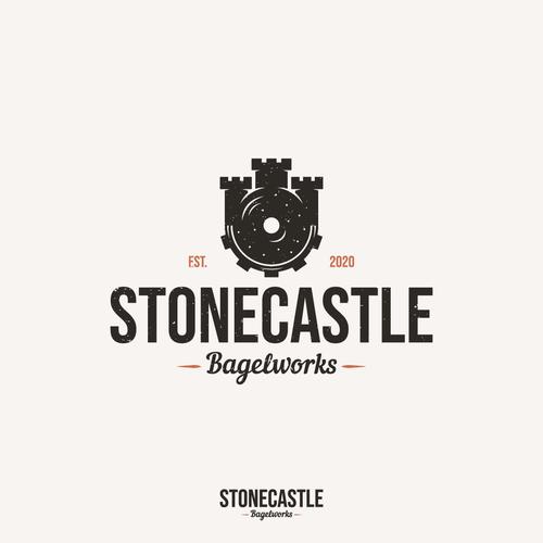 Bagel logo with the title 'STONECASTLE BAGELWORKS - Vintage logo'