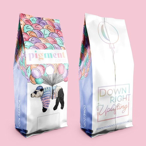 Animal packaging with the title 'Colourful Coffee Bag '