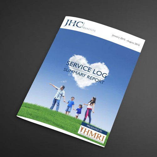Report cover design with the title 'Service Log Summary Report'