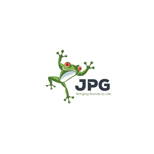 Mascot logo with the title 'Re-design the Frog logo for JPG'