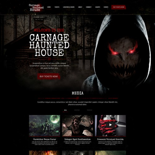 Game website with the title 'Carnage Haunted House'