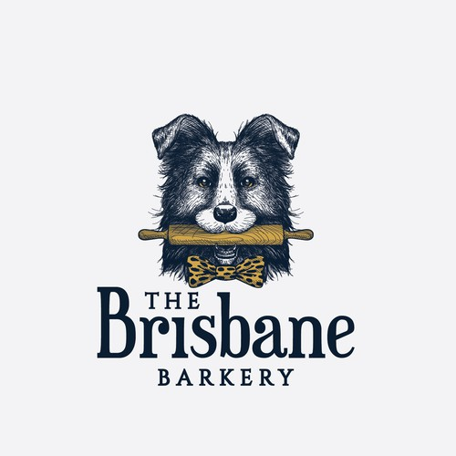 Animal shelter logo with the title 'Friendly Border collie holding a rolling pin for The Brisbane Barkery'