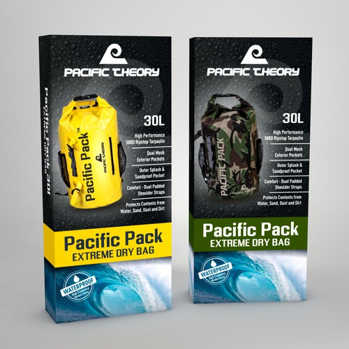 Redesigned packaging with the title 'Modern package design for Pacific Theory'