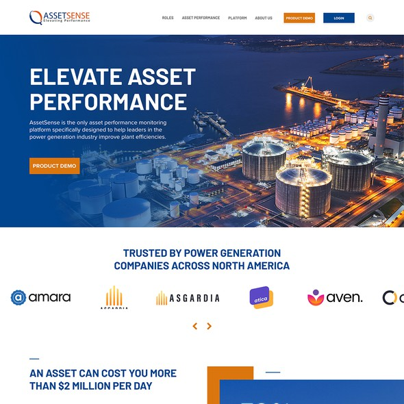 B2B website with the title 'Elevate Performance Webpage design'