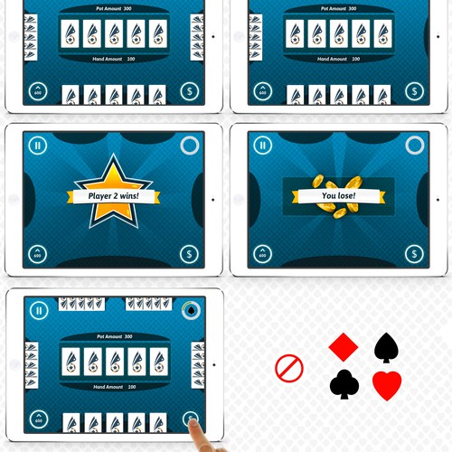 Tablet design with the title 'Create a Card game App table layout screen for all mobile devices and web gameplay'