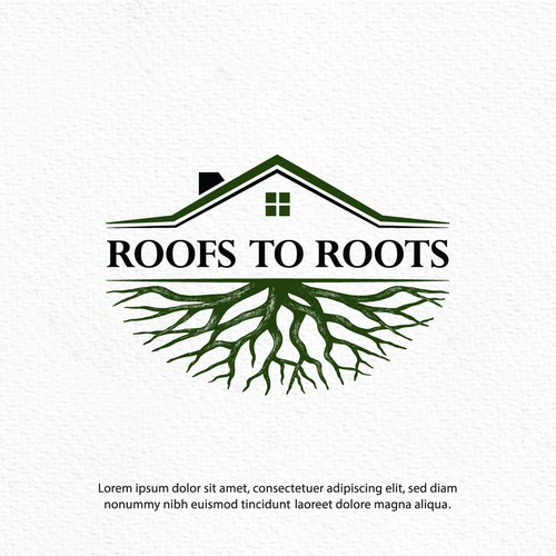 Roofing logo with the title 'Roofs to Roots'