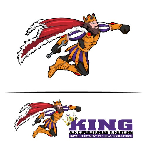King brand with the title 'King mascot for air conditioning & heating'