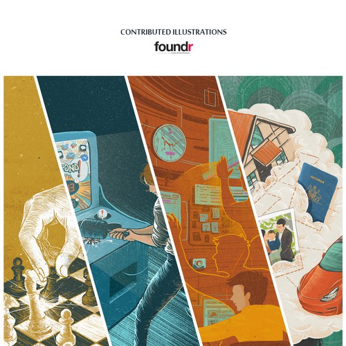 Artwork illustration with the title '4 contributed articles illustrations'