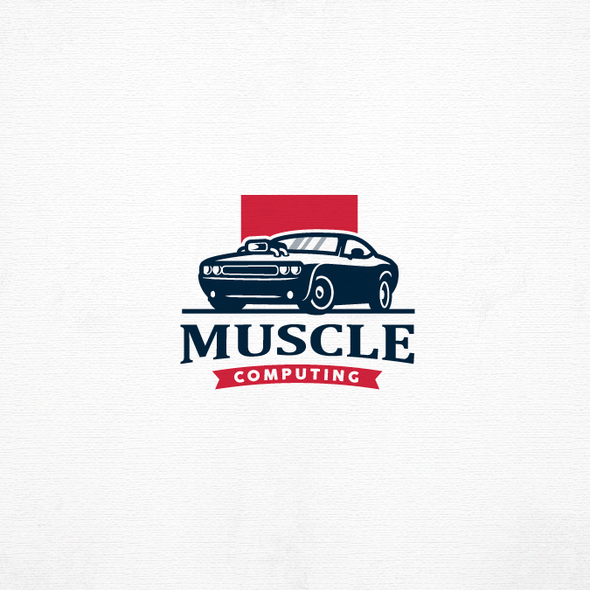 Muscle car design with the title 'MUSCLE COMPUTING'