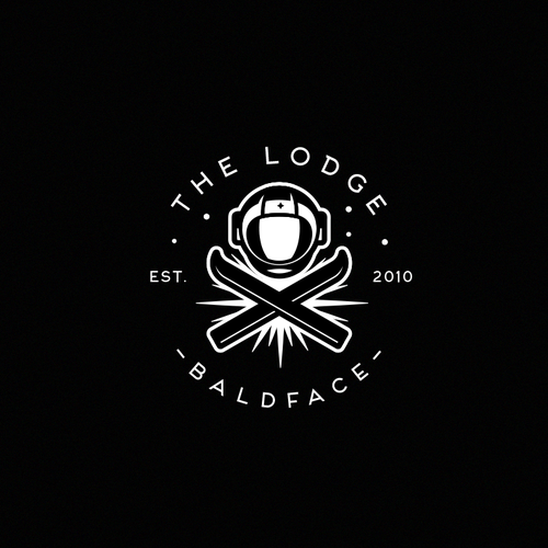 Snowboarding design with the title 'The lodge'