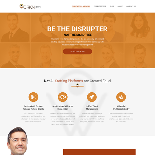 Theme website with the title 'Website design for the Staffing Software Company'