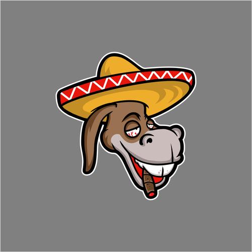 Donkey logo with the title 'logo for CHURRO BURRO'