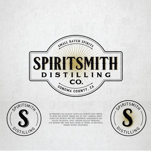 Distillery logo with the title 'Logo design for Spiritsmith Distilling Co.'