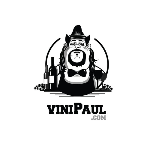 Drummer logo with the title 'Caricature Design for a Wine Distributor.'