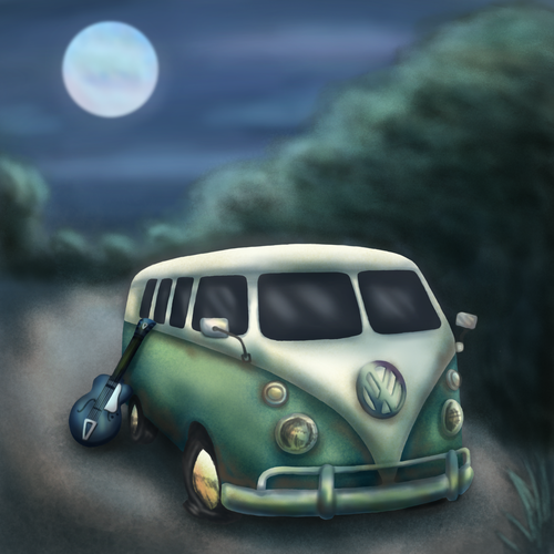 Environment artwork with the title 'Murder Mystery Book Cover Illustration'
