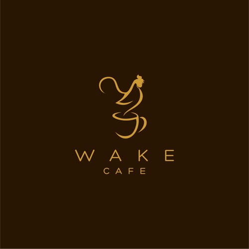 Morning design with the title 'wake coffee logo design'