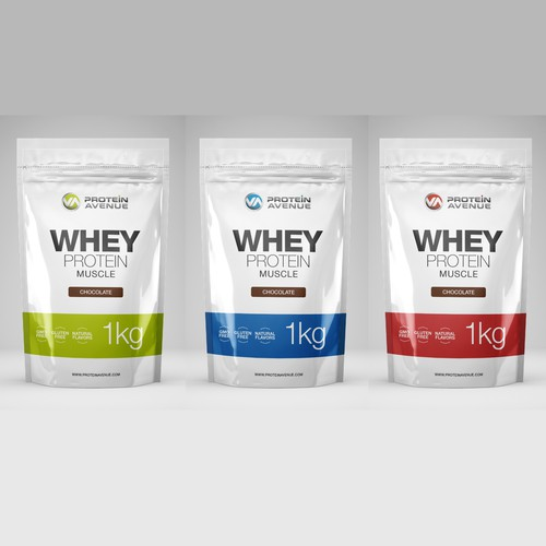 Nutrition packaging with the title 'Protein Avenue Packaging Design'