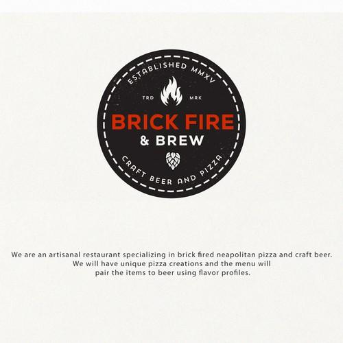 Blaze logo with the title 'BRICK FIRE & BREW'
