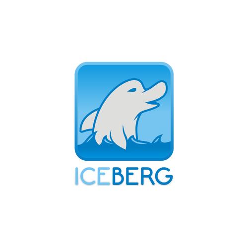 Swimming logo with the title 'ICEBERG LOGO'