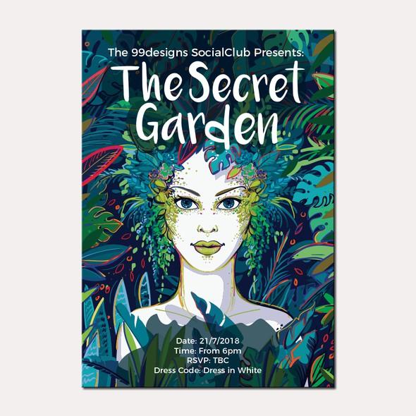 Blue artwork with the title 'The Secret Garden'