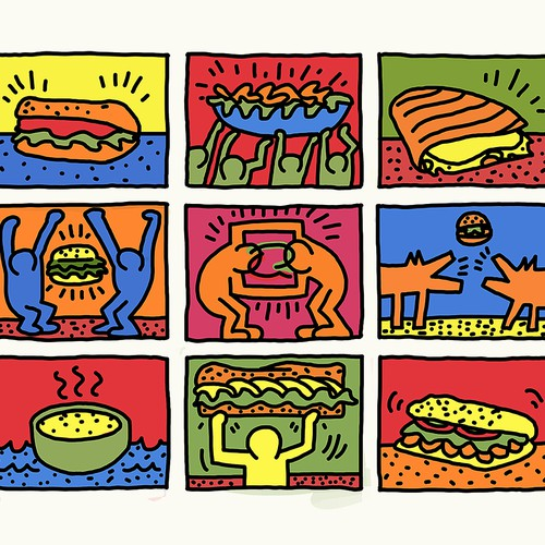 Graffiti illustration with the title 'Keith Haring Quiznos'