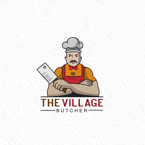 Butchery logo with the title 'THE VILLAGE BUTCHER shop LOGO'