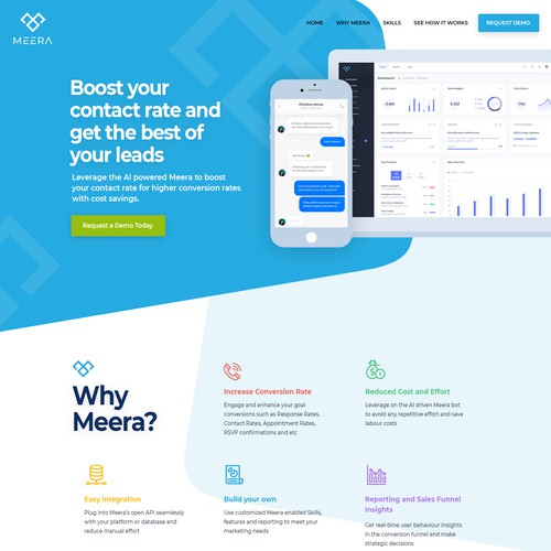 Artificial intelligence website with the title 'Design an innovative desktop + mobile website for an AI chatbot service!'