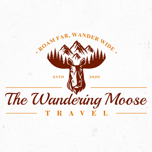 Wildlife design with the title 'The Wandering Moose Travel'