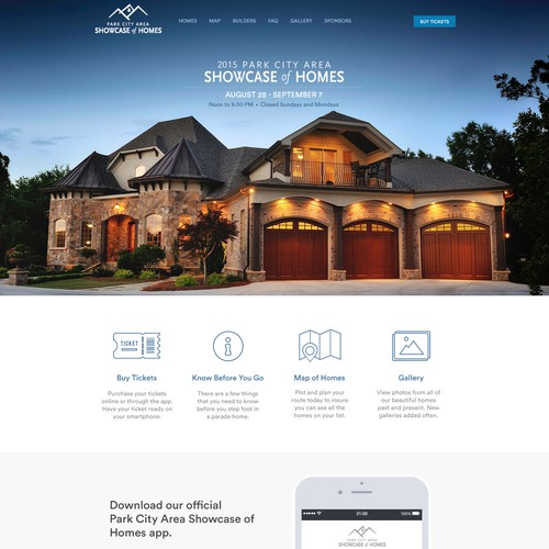 House website with the title 'Website design for home showcase / parade'