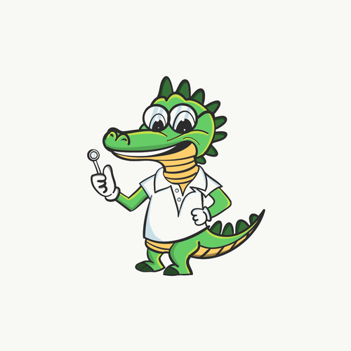 Dental illustration with the title 'Crocodile mascot'