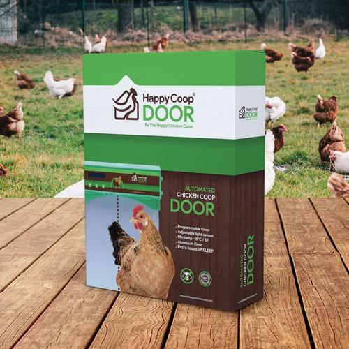 Farm packaging with the title 'Happy Coop Door'