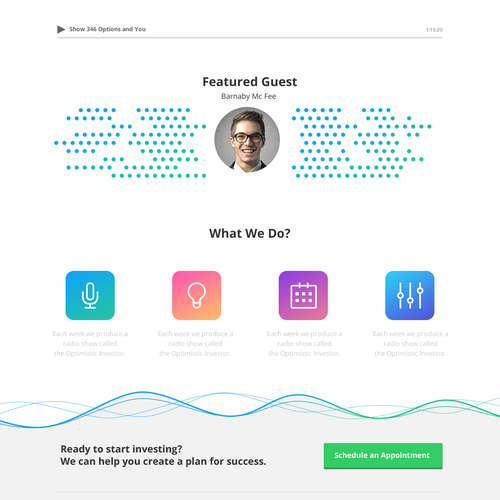 Radio station design with the title 'Website Design for Radio Show'