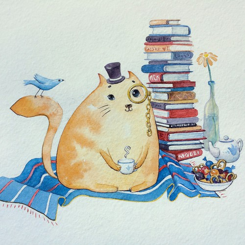 Aquarelle artwork with the title 'Cat in a Tiny Top Hat'