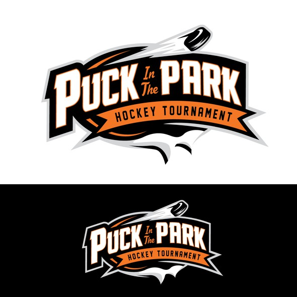 Hockey puck logo with the title 'puck in the park hockey'