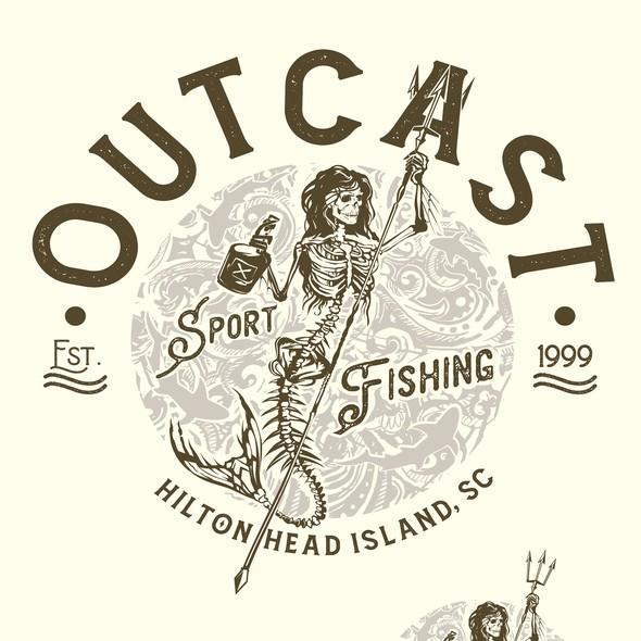 Sharp design with the title 'Outcast, Hilton head island, SC'