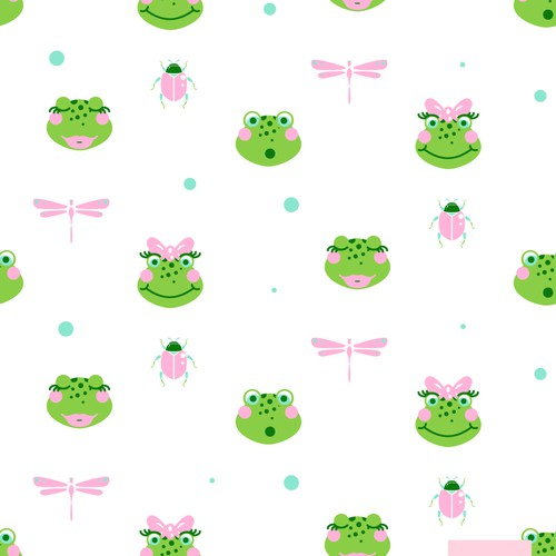 Wallpaper design with the title 'Cute frogs'