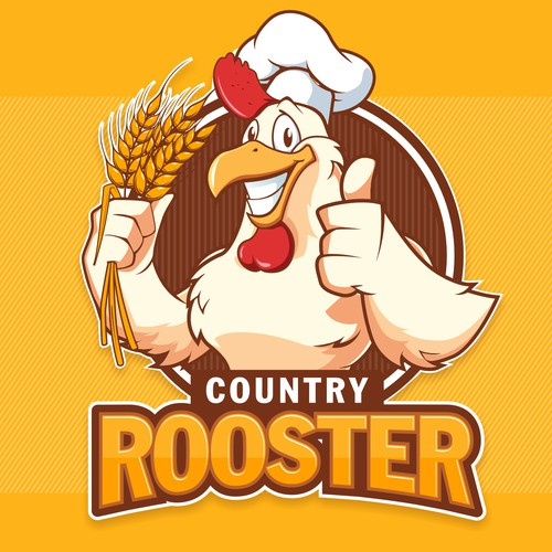 Purple and yellow logo with the title 'Country Rooster'