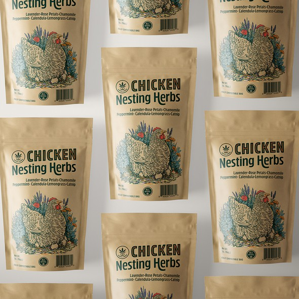 Custom packaging with the title 'Nesting Herbs'