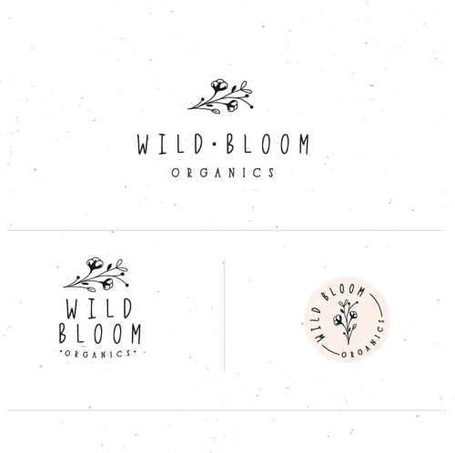 Botanical logo with the title 'Wild bloom organics'