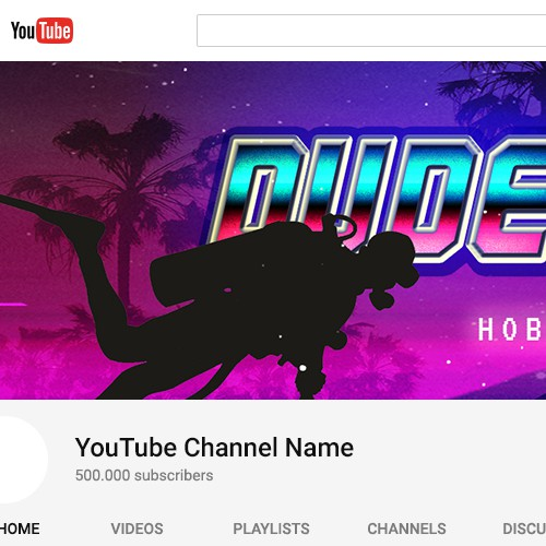 80s design with the title 'Youtube channel Banner Design'