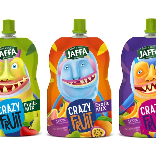 Juice packaging with the title 'Design a package of Kids Fruit Pouches'