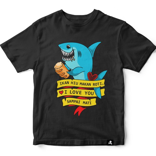 Love t-shirt with the title 'Original  tshirt design with shark'